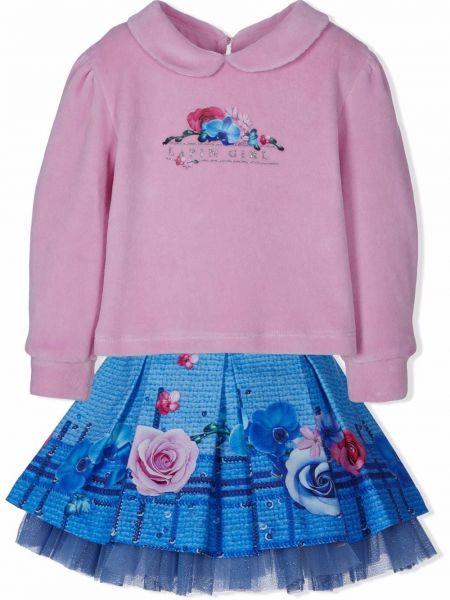 Długa spódnica w kwiaty - niebieska Lapin House