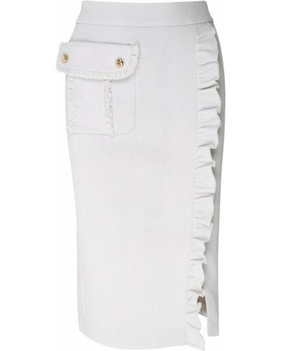 Шерстяная серая юбка с карманами Laroom