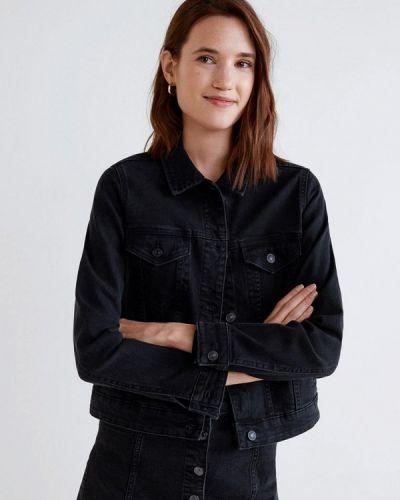 Джинсовая куртка черная весенняя Mango