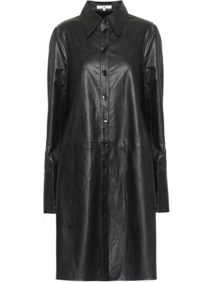 Кожаная черная рубашка Tibi