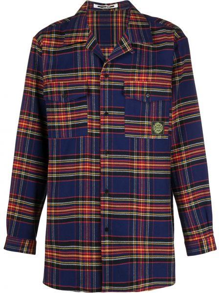 Niebieska koszula bawełniana z długimi rękawami Mcq Alexander Mcqueen