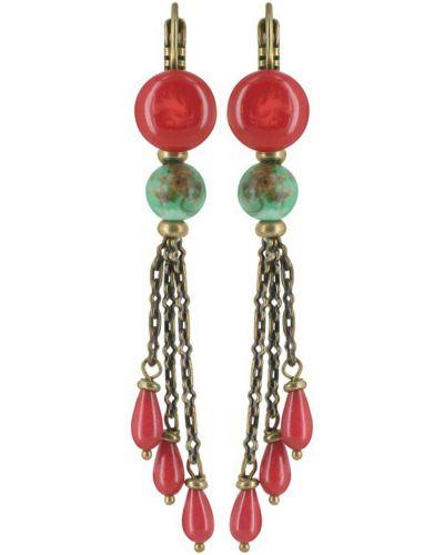Красные серьги Nature Bijoux