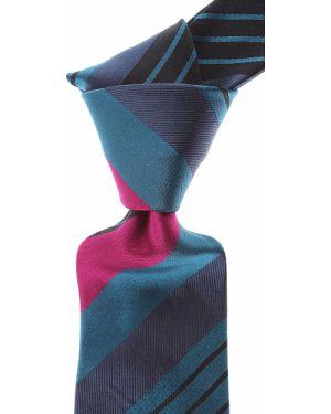 Czarny krawat w paski z jedwabiu Moschino