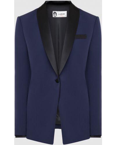 Шерстяной синий пиджак Lanvin