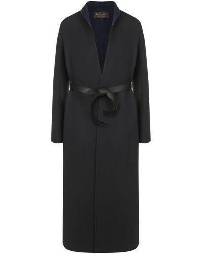 Кожаное пальто с поясом пуховое Loro Piana