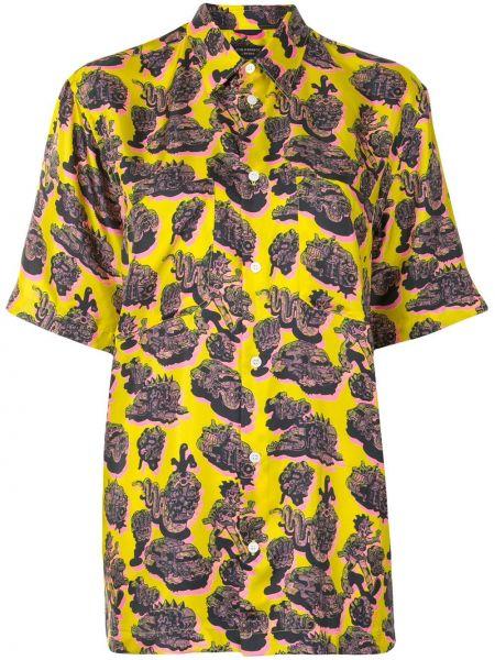 Шелковая желтая классическая рубашка с воротником на пуговицах Stella Mccartney