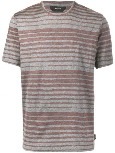 Koszula krótkie z krótkim rękawem w paski z paskami Z Zegna