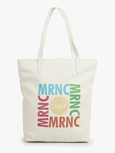 Белая кожаная сумка из натуральной кожи Marina Creazioni