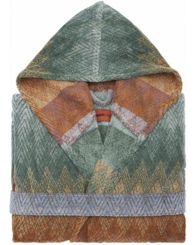 Fioletowy szlafrok bawełniany z printem Missoni