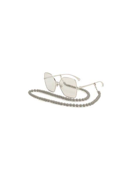 Комбинированные муслиновые серебряные солнцезащитные очки Chanel