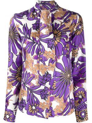 Фиолетовая блузка с длинным рукавом с воротником с бантом на пуговицах Victoria Beckham