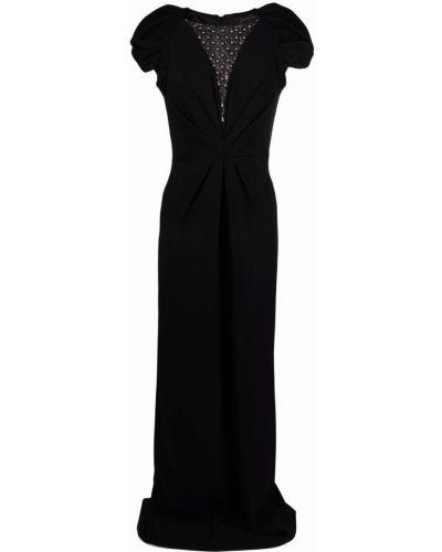 Czarna sukienka mini krótki rękaw z siateczką Jenny Packham