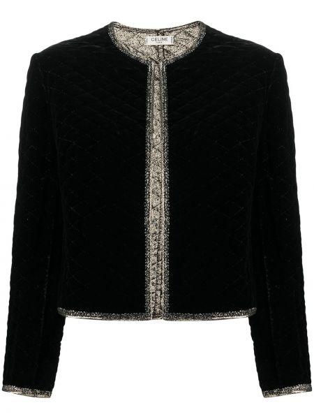Шелковый черный удлиненный пиджак с подкладкой Céline Pre-owned