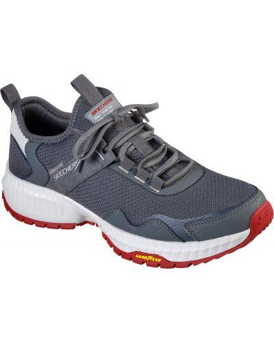 Серые кожаные кроссовки на шнуровке Skechers