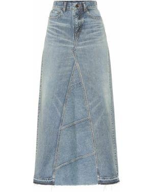 Деловая синяя юбка миди в рубчик Saint Laurent