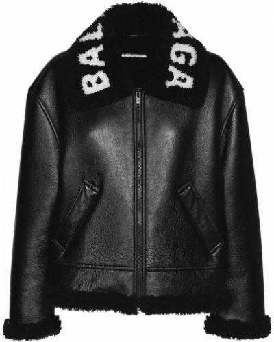 Кожаная куртка с воротником - черная Balenciaga