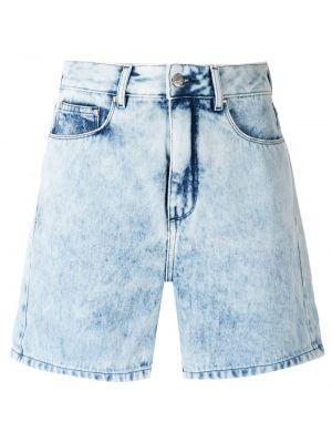 С завышенной талией хлопковые синие шорты Amapô