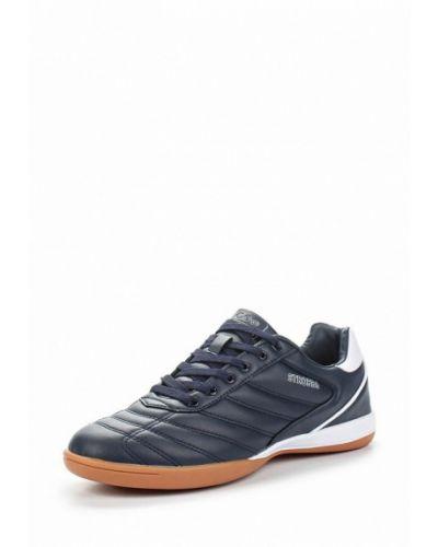 Синие кожаные кроссовки Strobbs