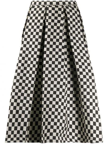 Расклешенная черная юбка миди в рубчик Paul & Shark
