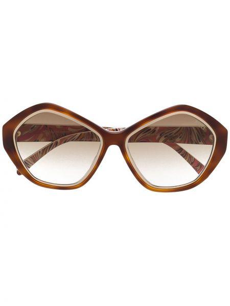 Муслиновые солнцезащитные очки круглые хаки Emilio Pucci Pre-owned