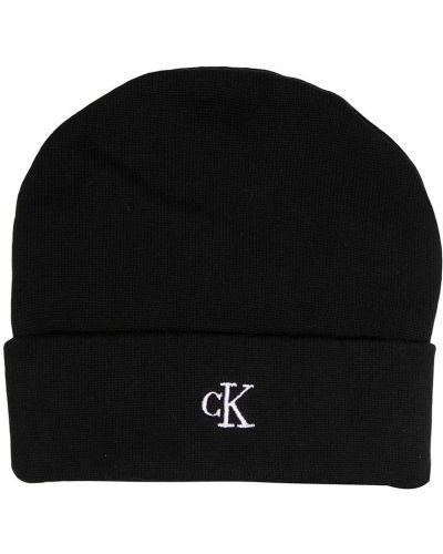 Хлопковая черная шапка бини с вышивкой с отворотом Calvin Klein Kids