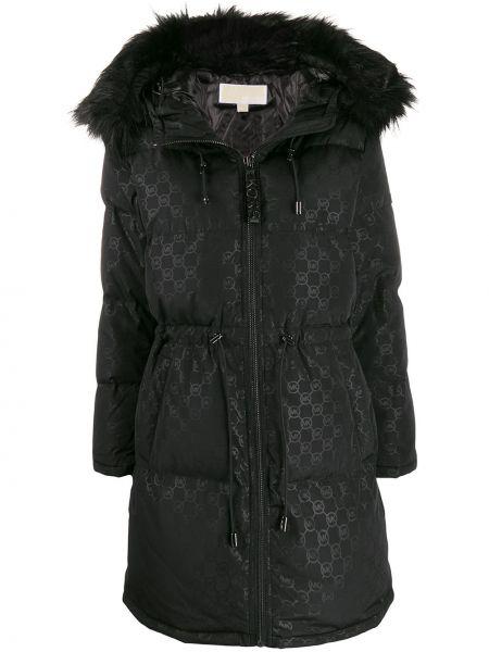 Акриловое черное длинное пальто с капюшоном Michael Michael Kors