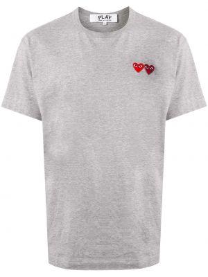 Хлопковая серая футболка с круглым вырезом с аппликациями Comme Des GarÇons Play
