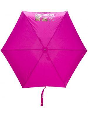 Różowy parasol z printem Moschino