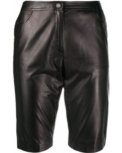 Черные с завышенной талией кожаные шорты Chanel Pre-owned