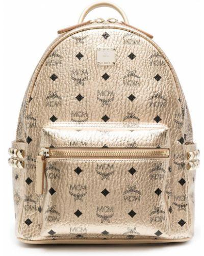 Желтый рюкзак на молнии с карманами Mcm