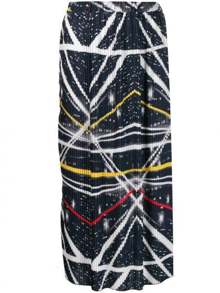 Niebieska spódnica z printem Ultrachic