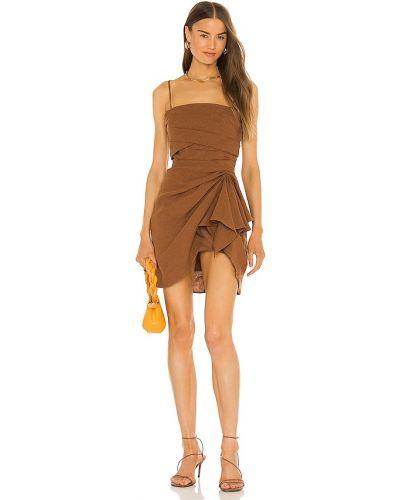 Хлопковое платье мини - коричневое Ronny Kobo