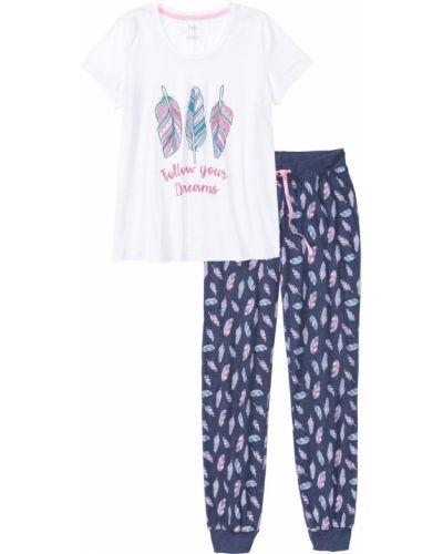 Пижама с брюками белая меланж Bonprix