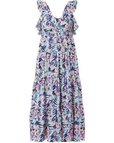 Niebieska sukienka midi rozkloszowana z dekoltem w serek Only