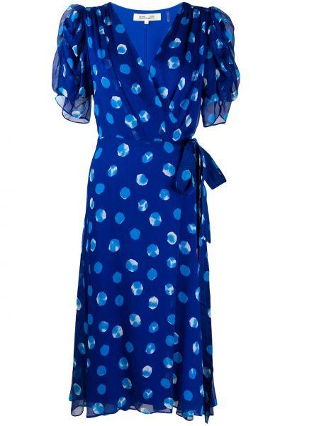 Шелковое платье миди с запахом с V-образным вырезом с драпировкой Dvf Diane Von Furstenberg