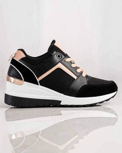 Czarne sneakersy na koturnie skorzane Shelovet