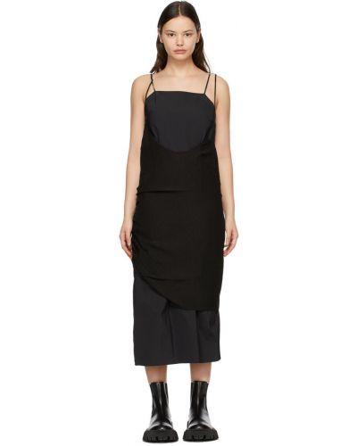 Czarna sukienka bawełniana z haftem Ader Error