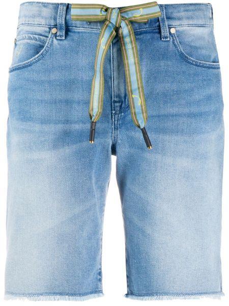 Хлопковые синие джинсовые шорты со стразами с карманами Jacob Cohen