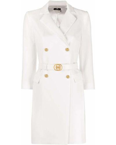 Белое платье мини с воротником с карманами Elisabetta Franchi