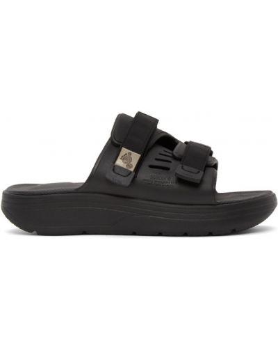 Czarny sandały rzep na paskach okrągły nos Suicoke