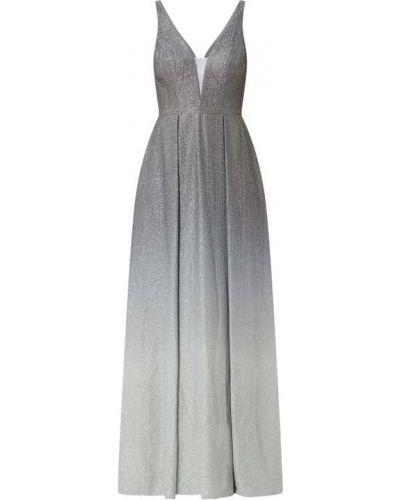 Sukienka wieczorowa rozkloszowana srebrna Mascara