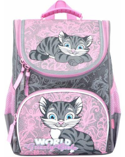 Текстильный розовый школьный ранец Grizzly