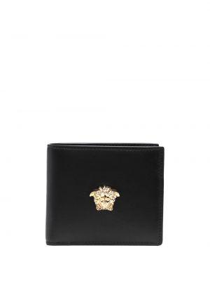 Czarny portfel na monety skórzany Versace