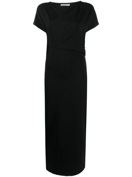 Czarna sukienka midi krótki rękaw z wiskozy Dusan