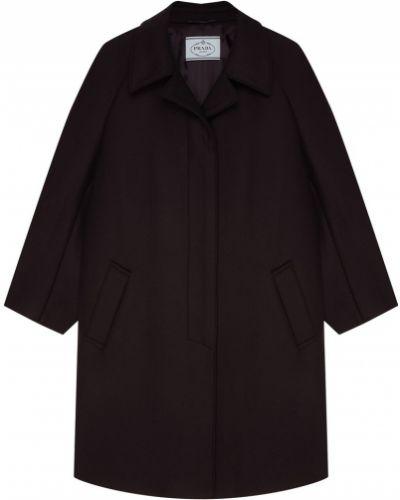 Кожаное пальто однобортное шерстяное Prada