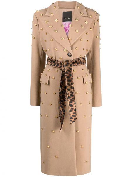 Beżowy długi płaszcz wełniany z długimi rękawami Pinko