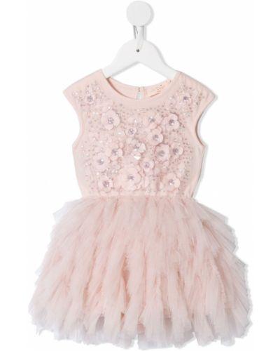 Розовое пышное платье на пуговицах с вырезом круглое Tutu Du Monde