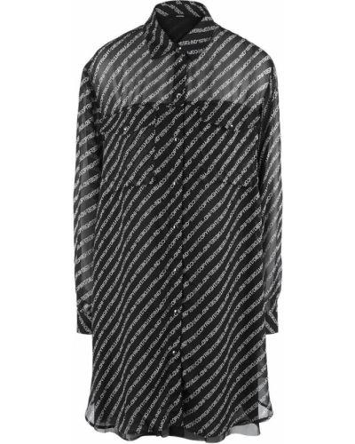 Свободное черное платье свободного кроя из вискозы Diesel