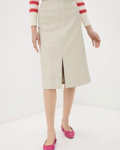 Бежевая кожаная юбка Marks & Spencer