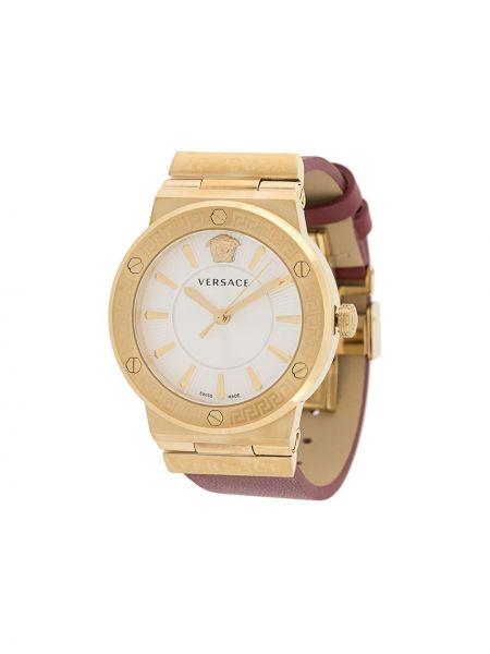 Szary złoty zegarek na skórzanym pasku kwarc Versace